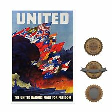 """13""""×19"""" Historic Poster, Reproduction: 1943 Wwii United Nations Flyer Military"""