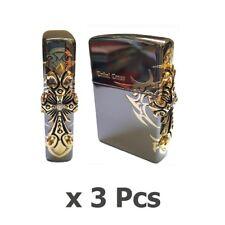 Zippo Lighter Side Tribal Cross Genuine 3 Pcs Original Packing
