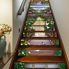 13pcs Garden And Bridge Self-adhesive Staircase Decoration Sticker Removable