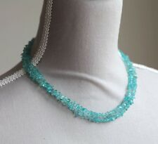 "SKY BLUE APATITE LONG LINE NECKLACE 35.5"" LENGTH (PALE BLUE) STERLING SLIVER"