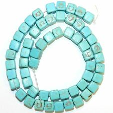 NG2882f Blue-Green Turquoise 8mm Square Cube Magnesite Gemstone Beads 15""