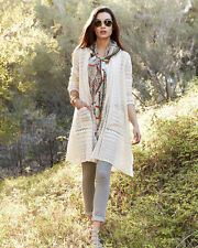 $278 JOHNNY WAS LONG CROCHET JACKET CARDIGAN EMBROIDERED NATURAL IVORY SZ 1X