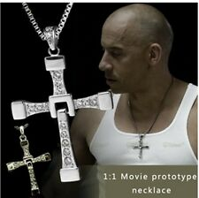 MENS SILVER CROSS NECKLACE PENDANT FAST AND FURIOUS