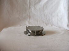 Vintage SILVER PLATE Drink Coasters With Stand X 7 Silver Plate