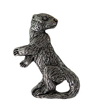 Otter Pewter Pin Badge - Hand Made in Cornwall