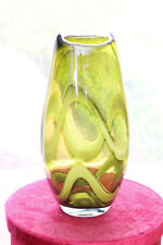 Victorian Olive green Handblown Vase with white wavey swirls to the body