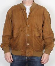 """Gamuza Bomber Harrington Jacket Coat XL 44"""" 46"""" Marrón (Kae) años 90"""