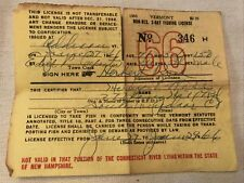 1966 Vermont 3 Day Vintage Fishing License in case