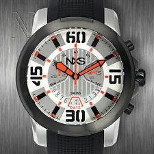 NXS Geiger Mens Swiss Chronograph Watches Stainless Steel Black Orange silver