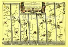 Exeter to Dorchester inc Lyme Regis  Replica 17c OGILBY  Old Road Map  Print