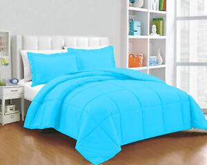 Glorious Down Alternative Comforter 100/200/300 GSM Aqua Blue Solid Full XL Size