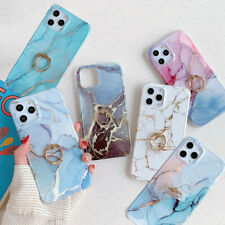 For iPhone 11 Pro Max 12 XS XR X 8 7 SE2 IMD Marble Metal Ring Hard Case Cover
