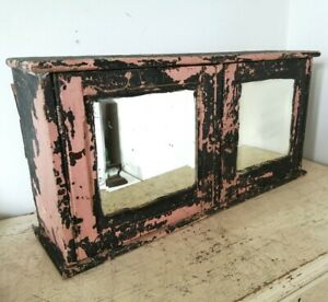 Vintage Chipped Distressed Wooden Grey Pink Mirrored Cabinet 63cm x 37cm x 17cm
