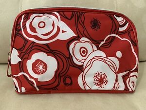 LANCOME Red Black White Flowers Large Cosmetic Makeup Bag Clutch 🎁