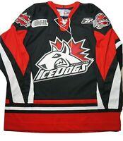 Rare Reebok Mississauga Icedogs OHL CHL Hockey Jersey Authentic Sewn Black XL