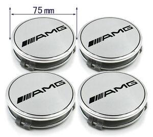 NEW 4× A.MG Wheels Center Caps 75mm Silver Hub Caps Hub Cover Emblem Badges
