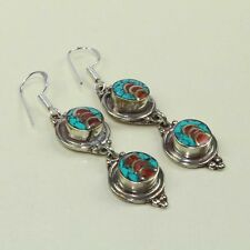 New Arrival Natural Ethnic Turquoise & Red Coral Tibetan Earring NE-7231