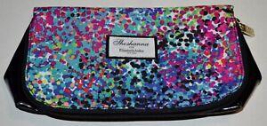 SHOSHANNA FOR ELIZABETH ARDEN Black Multicolor Zipped Make Up Case Two Pockets