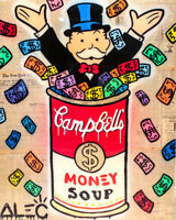 Alec Monopoly Graffiti Handcraft Oil Painting on Canvas, Monopoly  Soup