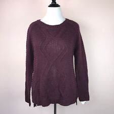 NY Collection Sweater XL XLrg Burgundy Cable Knit Solid Pullover NEW