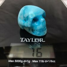 "2"" Blue Aragonite Dyed Skull Figurine Carved Crystal Polished Natural Stone"