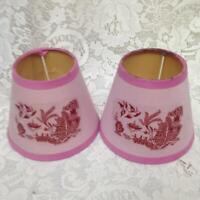 Pair of Small  Pink-Blue Willow Shade 4.5in H x 5in D (B)