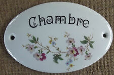 Ancienne plaque de porte Porcelaine de Limoges chambre 6 x 9 cm + ou -