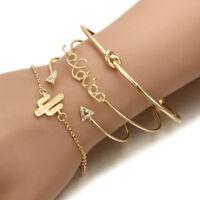 4Pcs/Set Womens Gold Triangle Knot Love Cactus Opening Bangle Chain Bracelet