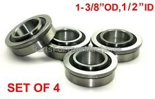 "4 BEARINGS 1-3/8"" OD, 1/2"" ID, FLANGE, LAWNMOWERS,GO KARTS, CARTS, DOLLIES, 4X4"
