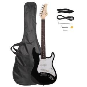 E-Gitarre Set Elektrogitarre E Gitarre Schwarz Rechtshänder mit Tragetasche