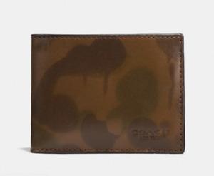 COACH x Baseman Wild Beast Camo Men's Printed Leather Slim Billfold Wallet NWT