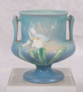 "Antique Roseville Pottery White Iris Vase Urn Blue Small 4"" Excellent Condition"