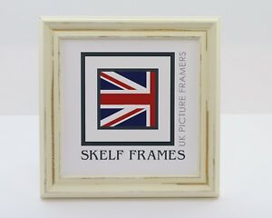 DISTRESSED OFF-WHITE ~ SHABBY CHIC SQUARE PICTURE PHOTO POSTER WOOD FRAME