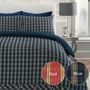 Superior Heavy Flannel 100% Brushed Cotton Flannelette Duvet Cover Bedding Set