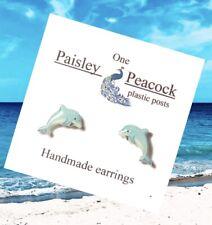 Dolphin Stud Earrings- Handmade-Plastic Post Ocean Mammal Custom