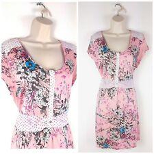 Joe Browns Pink Floral Jersey Tie Waist Tunic Dress UK14 Romantic Stretch