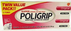 Super Poligrip Denture Adhesive Cream Original  2 PK false teeth tooth partial