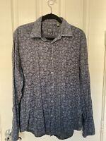 Boss Hugo Boss Mens Black Floral Stripe L/S Button Down Shirt Sz L