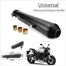 "Cool 44.5cm/17.5"" Motorcycle Exhaust Pipe With Sliding Bracket Black Universal"