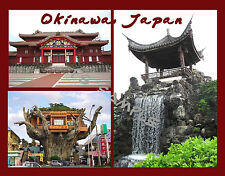 Japan - OKINAWA collage - Travel Souvenir Flexible Fridge Magnet