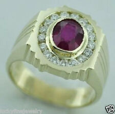 14k Solid Yellow Gold Men men's Natural Ruby Oval & Diamond Ring  3.13 ct