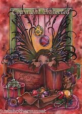 Marjolein Gulinski Art Print Fairy Faery Happy Holidays Christmas Present Tree