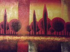 FORESTA PAESAGGIO MODERNO grande dipinto a olio su tela rosso Alberi Arte contemporanea