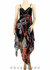 Robe Tunique graphique T. UNIQUE = 38 40 42 44 46 noir orange Fête NEUF Dress