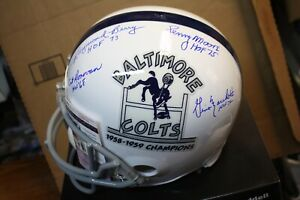 BALTIMORE COLTS HOFERS (4) SIGNED F/S HELMET DONOVAN, MOORE, BERRY, GINO M JSA