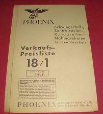 verkauf preisliste phoenix haushalt nähmaschine baer rempel reklame werbung 1936