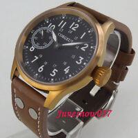 44mm Bronze Herrenuhr Saphirglas Schwarz dial leuchtend 6497 Handaufzug Uhrwerk