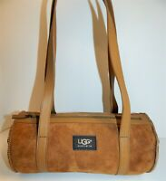 UGG Chestnut Brown Suede Tan Leather Shearling Shoulder Bag