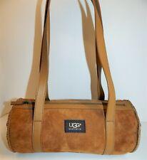 UGG Chestnut Brown Suede Tan Leather Shearling Shoulder Bag