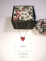 GUCCI Necklace Chain Red Heart Inter Locking GG VALENTIO Silver Ag925 authentic